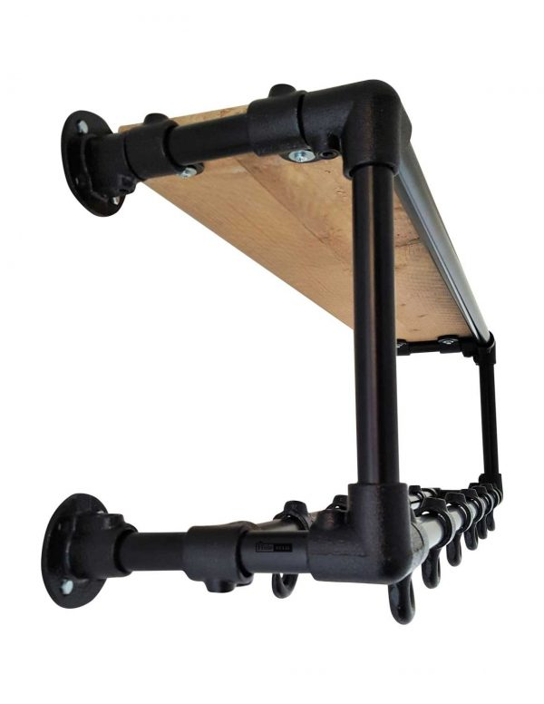 zwarte steigerbuis kapstok rectangle two rows met gebruikt steigerhout